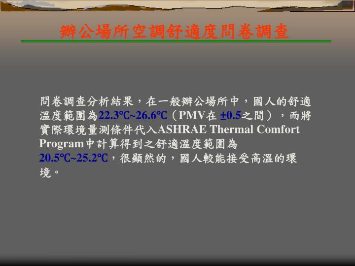 辦公場所空調舒適度問卷調查