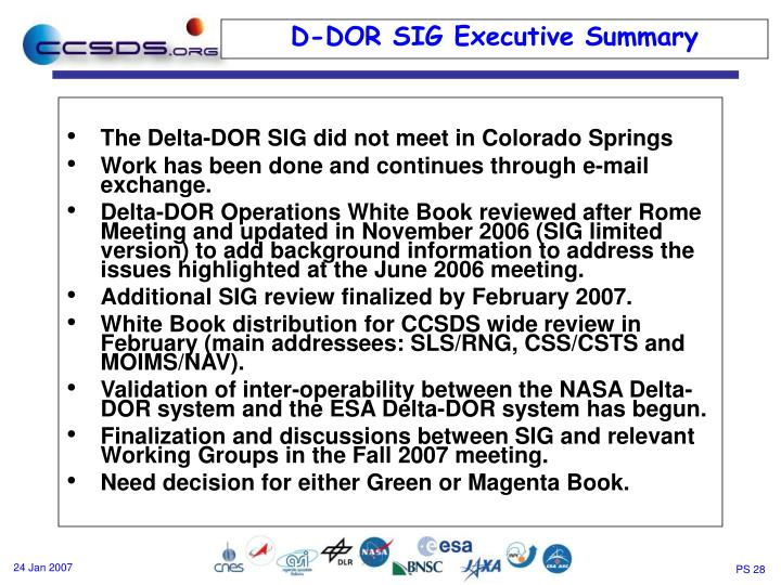 The Delta-DOR SIG did not meet in Colorado Springs