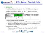 sana summary technical status