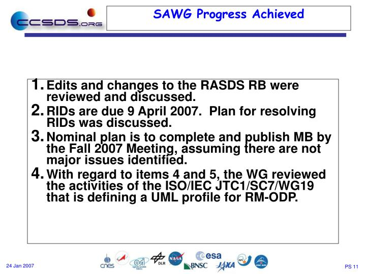 Edits and changes to the RASDS RB were reviewed and discussed.