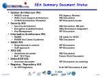 sea summary document status
