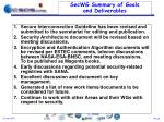 secwg summary of goals and deliverables