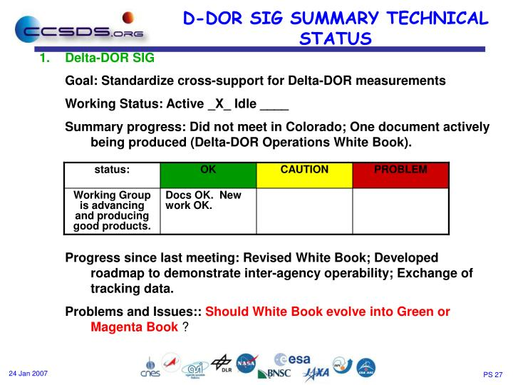 D-DOR SIG SUMMARY TECHNICAL STATUS