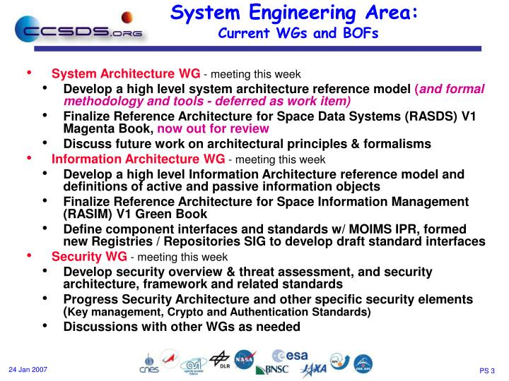 System engineering area current wgs and bofs