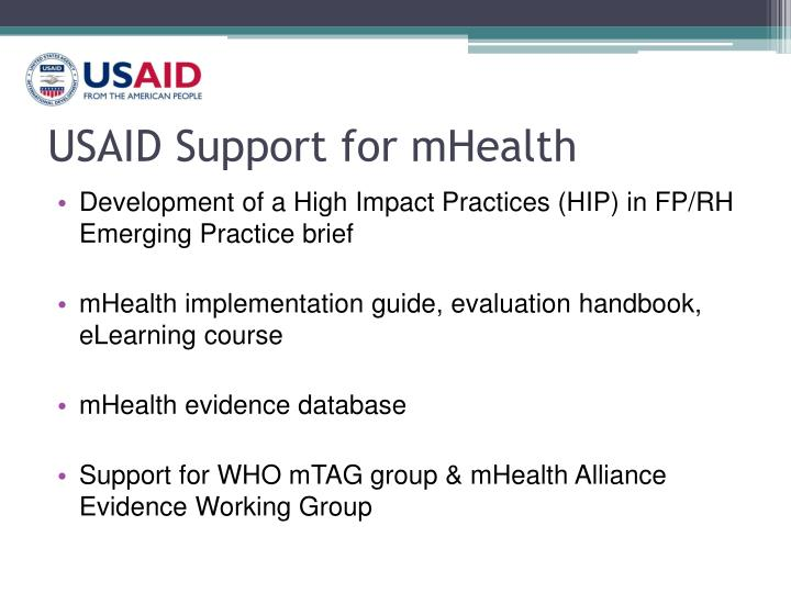USAID Support for mHealth