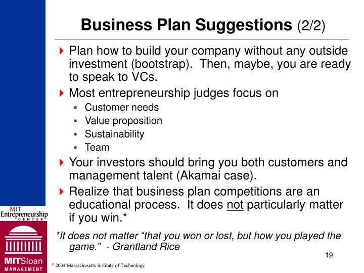 Business Plan Suggestions