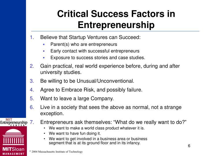 Critical Success Factors in Entrepreneurship