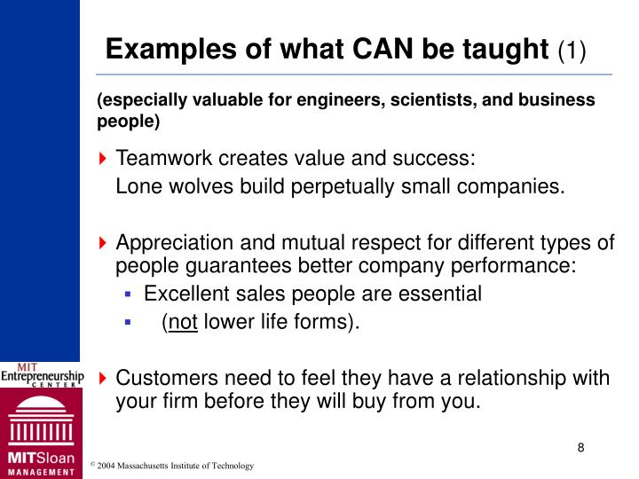Examples of what CAN be taught