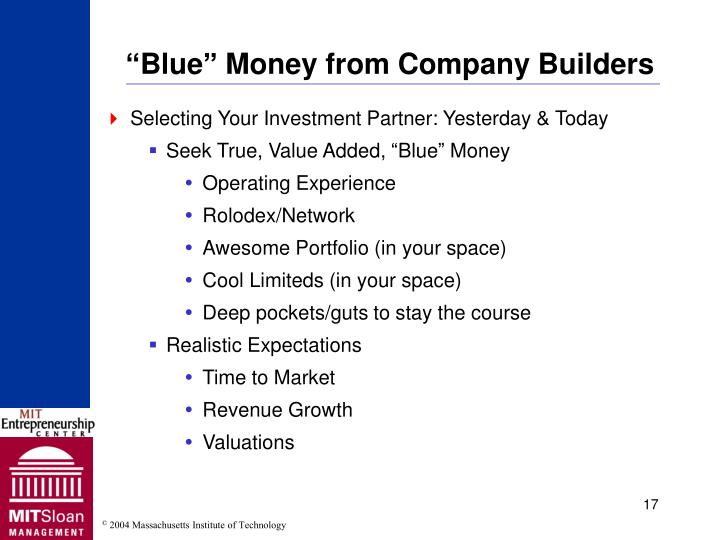 """""""Blue"""" Money from Company Builders"""