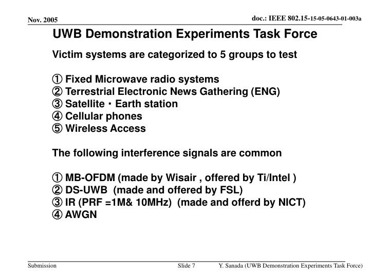 UWB Demonstration Experiments Task Force