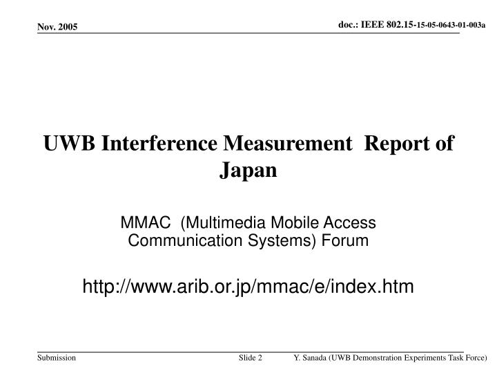 Uwb interference measurement report of japan