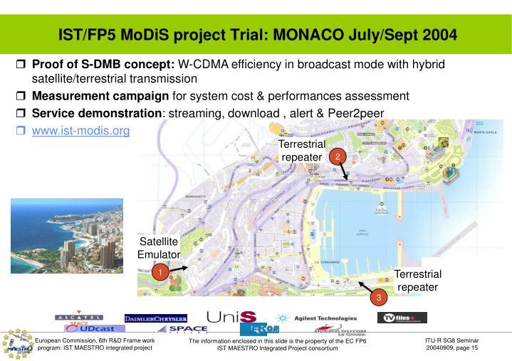 IST/FP5 MoDiS project Trial: MONACO July/Sept 2004