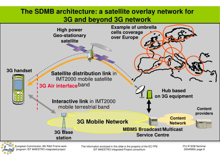 The SDMB architecture: a satellite overlay network for 3G and beyond 3G network