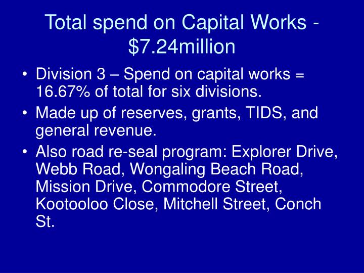 Total spend on Capital Works - $7.24million