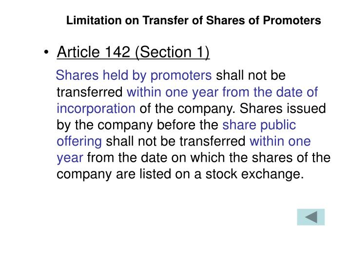 Limitation on Transfer of Shares of Promoters