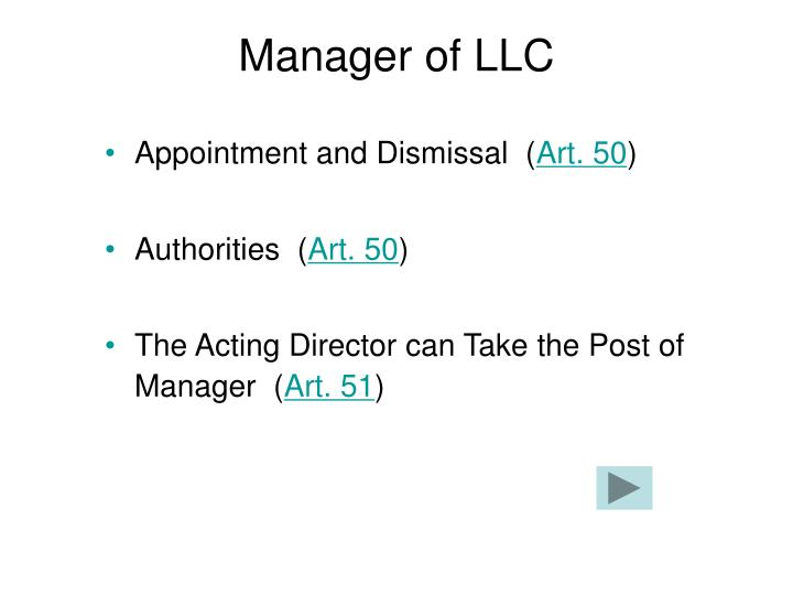 Manager of LLC