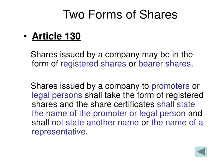 Two Forms of Shares