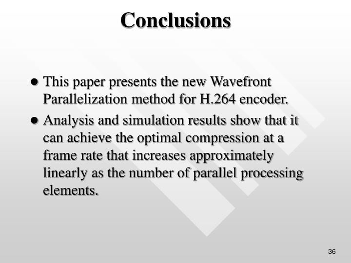 This paper presents the new Wavefront Parallelization method for H.264 encoder.