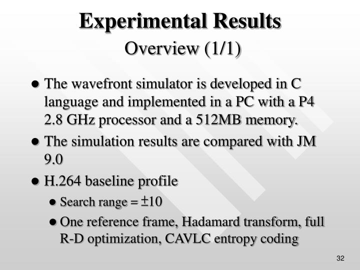 The wavefront simulator is developed in C language and implemented in a PC with a P4 2.8 GHz processor and a 512MB memory.