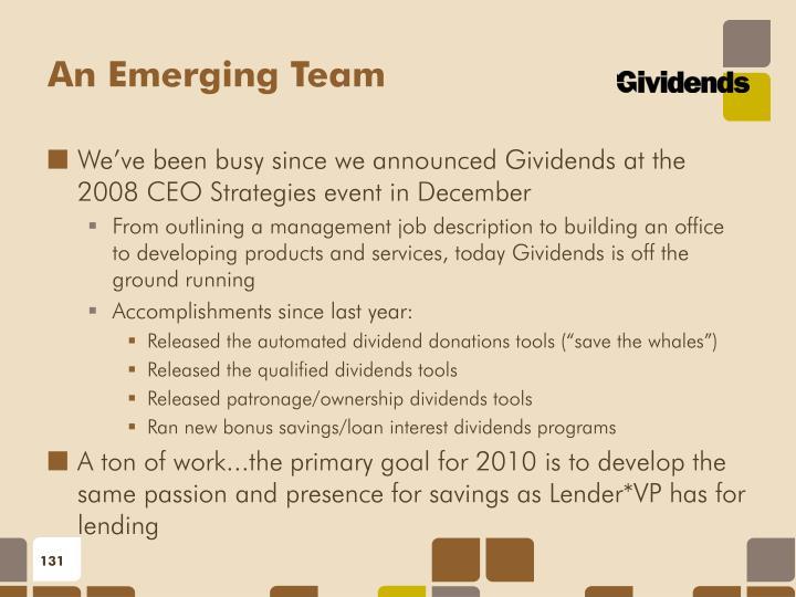 An Emerging Team