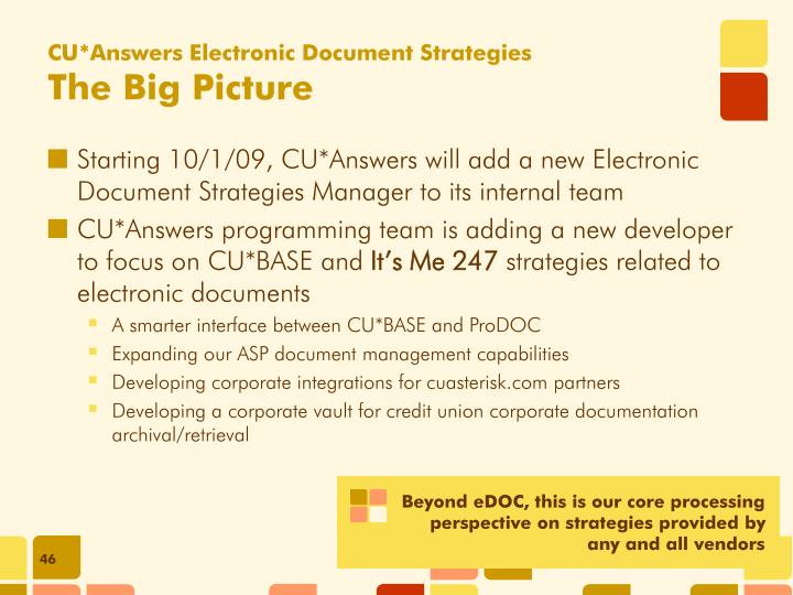 CU*Answers Electronic Document Strategies