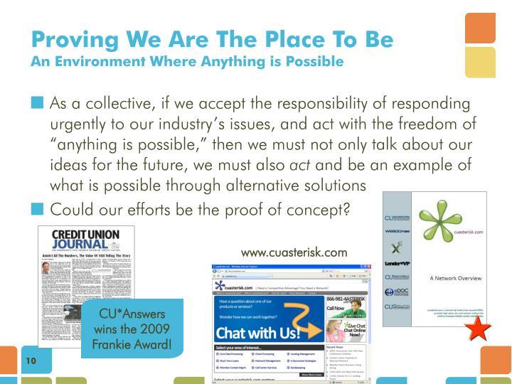 CU*Answers wins the 2009 Frankie Award!