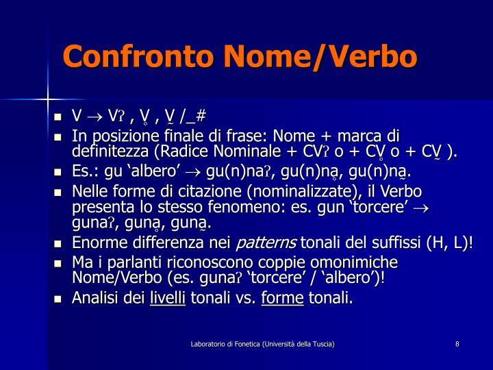 Confronto Nome/Verbo
