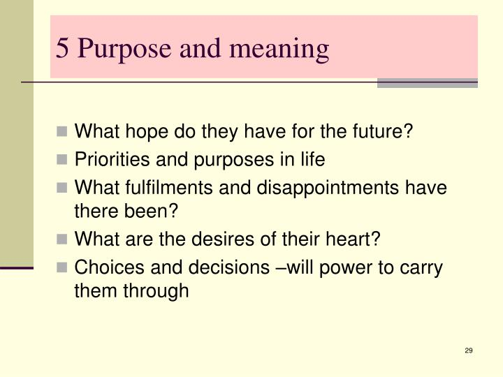 5 Purpose and meaning
