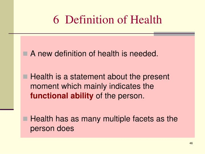 6  Definition of Health
