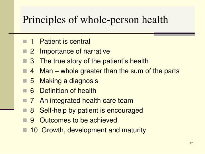 Principles of whole-person health