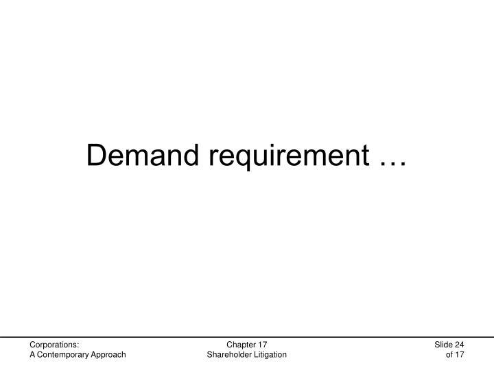 Demand requirement …
