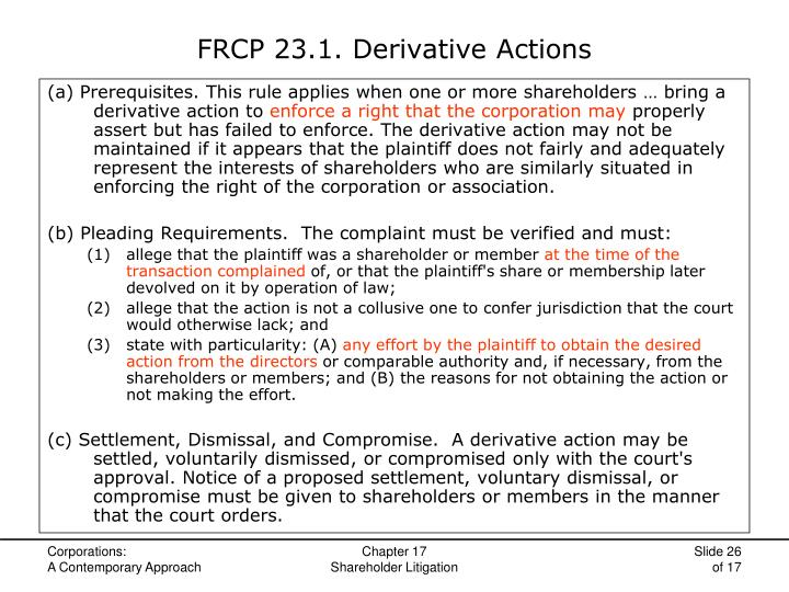 FRCP 23.1. Derivative Actions
