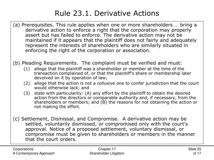 Rule 23.1. Derivative Actions