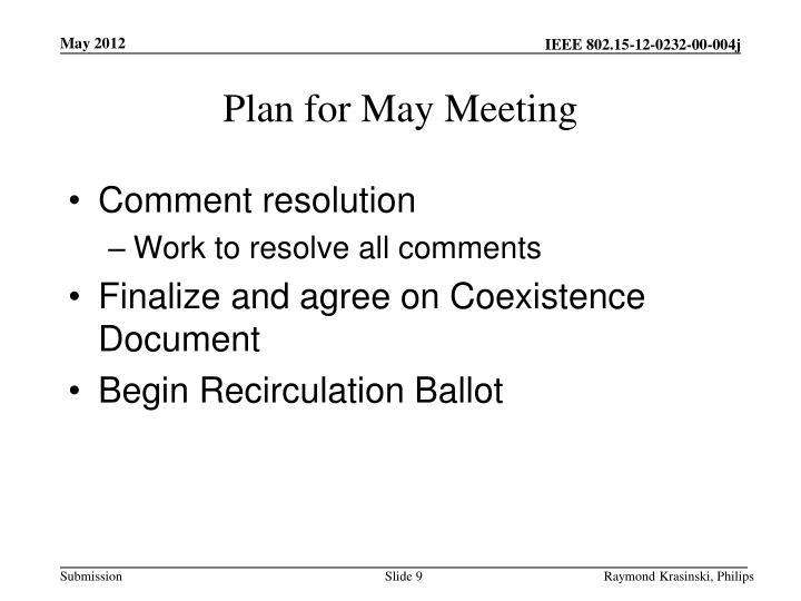 Plan for May Meeting