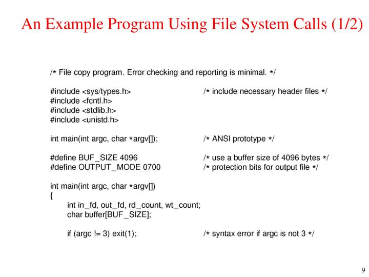An Example Program Using File System Calls (1/2)