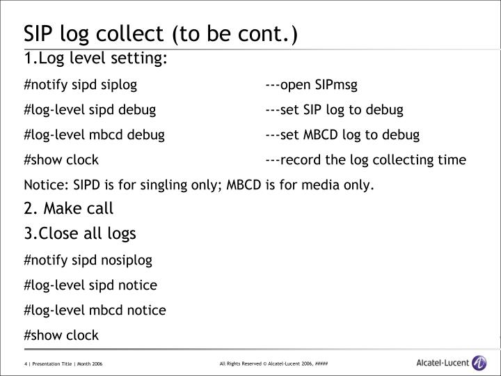 SIP log collect (to be cont.)
