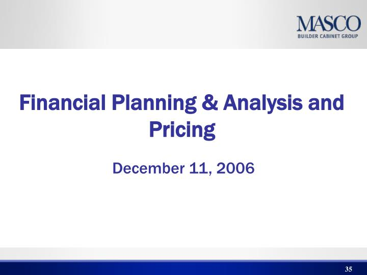 Financial Planning & Analysis and Pricing