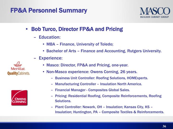 Bob Turco, Director FP&A and Pricing