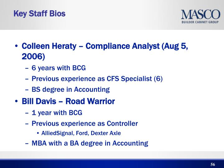 Colleen Heraty – Compliance Analyst (Aug 5, 2006)