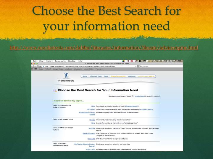 Choose the Best Search for your information need