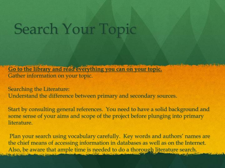 Search your topic