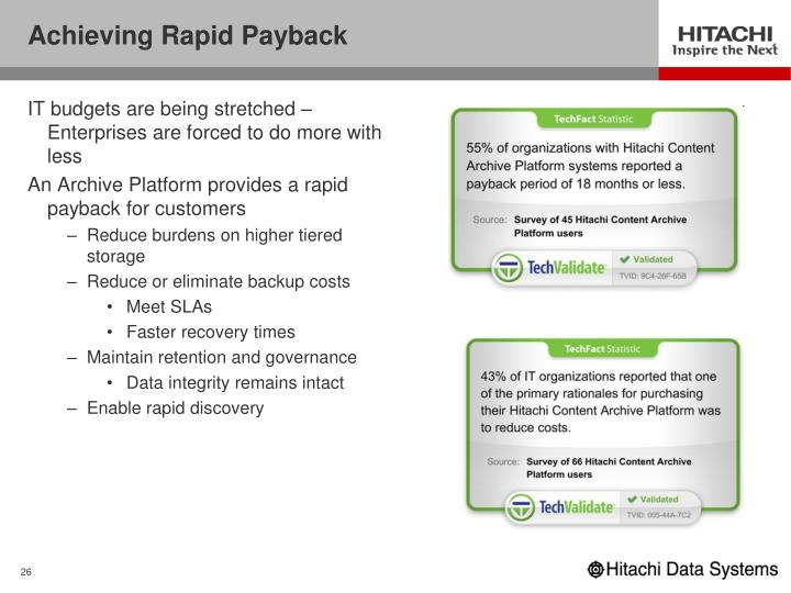 Achieving Rapid Payback
