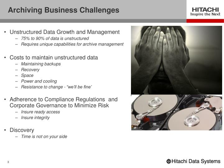 Archiving business challenges
