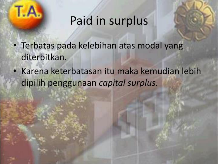 Paid in surplus