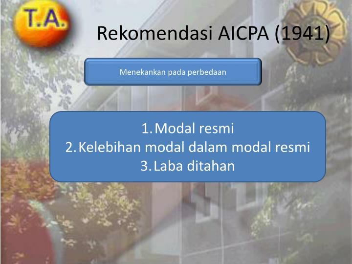 Rekomendasi AICPA (1941)