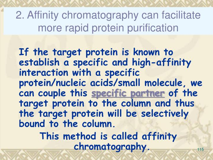 2. Affinity chromatography can facilitate more rapid protein purification