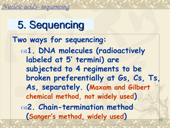 Nucleic acids- sequencing