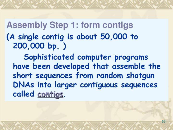 Assembly Step 1: form contigs