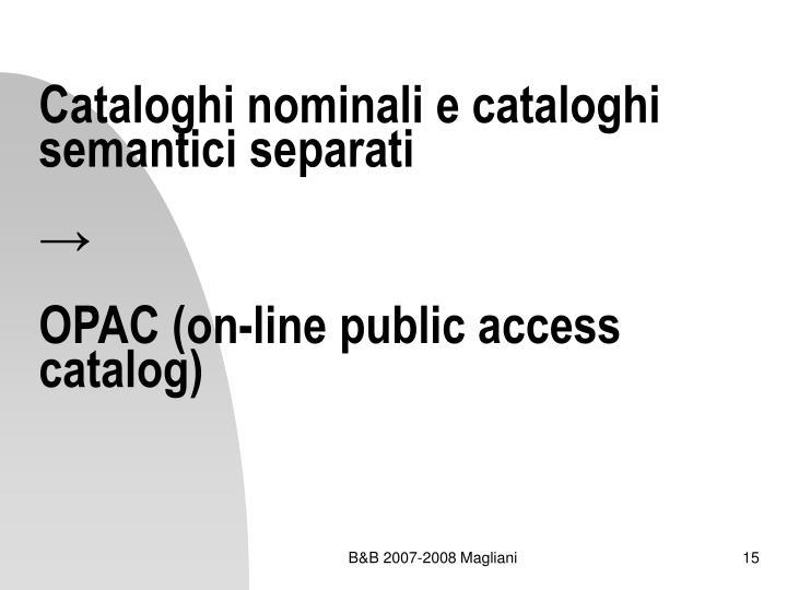 Cataloghi nominali e cataloghi