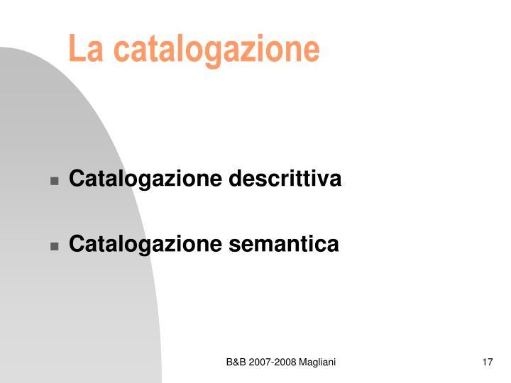 La catalogazione
